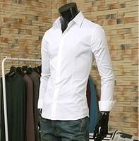 Fashion fashion suit shirt male slim shirt commercial casual shirt pure cloth white collar shirt