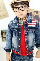 Free shipping 5pcs/lot Baby Boys cool denim coat Fashion American flag print jackets Kids Autumn outerwear Children's clothes