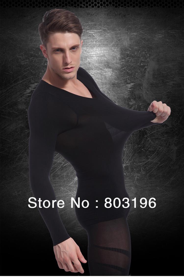 Wholesale 20Pcs/Lot Men's Body Shaping Long Sleeve Underwear Winter Thermal Slimming Underwear Free Shipping(China (Mainland))