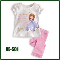 "new 2013 ""AE baby"" Girls Autumn -summer Cotton Pajamas Children Clothing sets singing sofia puff sleeve Pyjamas AE-S01"