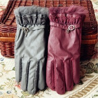 Free Shipping New Style Wool Gloves Women Rabbit Fur Gloves Winter  leather gloves  for Women New 2013 fur mittens