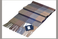 High-grade 100% wool scarf knitted gray plaid scarves classic plaid cashmere scarf men