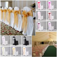 18*275cm 100pcs Organza Chair Sash Bow Romantic Wedding Party Supplies Back Tie Decoration