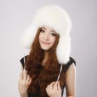 Promotion!!! New Arrival Fashion women 100% genuine fox hair hat fashion fox fur cap warm cap Russian Winter Cap Free Shipping