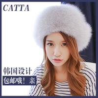 New Arrival Fashion women genuine fox hair hat Russian warm fur cap Free Shipping