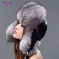 Free Shipping Fox fur hat fur hat female winter ear protector cap women's genuine leather Russian Winter Cap