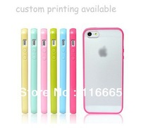 TPU+PC custom case for iphone 5c,Soft sides + hard plastic back cover can print design logo free DHL 10pcs/design