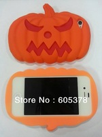 for new iphone 4 4s silicone case,Hallowmas punpkin silione case,20pcs a lot free shipping