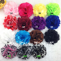 "Free Shipping,50pcs/lot, 3"" Hair Accessories Satin Mesh Flower Without Hair Clips Rose Flowers 15 Colors Cheapest Price ,TYF03"