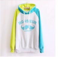 big beard printed hoodie long sleeve with hoody fleece inside warm cotton hoodies for women 2 colors free shipping