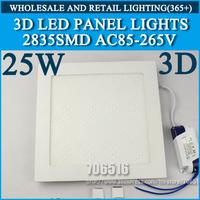 Wholesale 10pcs 3D New High brightness LED Panel Lights ceiling lighting Square 25W 2835SMD Cold white/warm white AC85-265V