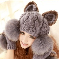 Hot on sale!! Hats for women winter hat  woolen cap cat ears hair ball knitted hat snapback beanie!