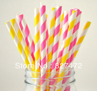 100pcs mix colors hot pink / yellow stripes Paper Straws Drinking wedding birthday event & party decoration