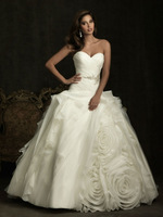 Free Shipping Top Quality Custom made  Satin Organza Ruffles Flowers Strapless A-Line Wedding Dress Bridal Gown