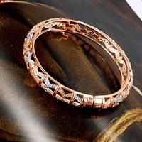 Multi-Tone 18k Rose White Gold Filled GF Vintage Filigree Women's Bangle Bracelet Free shipping