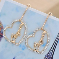 Wholesale Long Style Boutique Real Gold Plating Inlaid Czech Drilling Allergy Free Titanium Needles Alphabet Stud Earrings