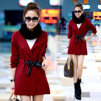 Kl22 solid color cardigan no button outerwear top 2013 winter women's belt long-sleeve sweater
