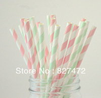 100pcs mix colors light pink / light green stripes Paper Biodegradable Drinking Straws wedding birthday event & party decoration
