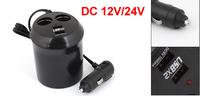 Universal Car Round Cigarette Lighter Charger Splitter HUB 2 Sockets Plus 2 USB Ports Adapter 12/24V