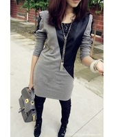 2014 autumn and winter black leather sleeve all-match slim patchwork fur woolen one-piece dress fashion size