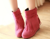 2013 Fashion women Pink Rose red beige black Tassel sweety shoes boots girl boots female boots