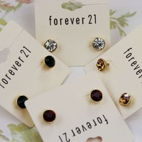 Accessories sparkling genuine  chromophous female  stud earring earrings  card