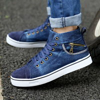Autumn male martin boots denim high-top canvas shoes male boots single shoes male shoes