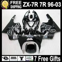 black 7R 7R Fairing For KAWASAKI NINJA ZX7R 96-03 ZX-7R Q1411 ZX 7R factory black 1999 2000 2001 2002 1996 1997 1998 2003
