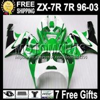 7gift green black For KAWASAKI NINJA ZX7R ZX-7R 96-03  Q1419 ZX 7R green white 1996 1997 1998 2003 1999 2000 2001 2002 Fairing