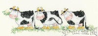 Free shipping DIY unfinished Cross Stitch kit animal three cow Moo moo ZA-D102