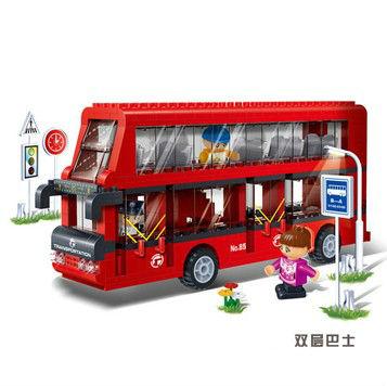 Banbao 8769 de dois andares autocarro 412 pcs transporte plástico modelo Building Block define Bricks DIY brinquedos educativos presente de natal(China (Mainland))