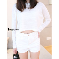Women's 2013 autumn small fresh short design long-sleeve T-shirt high waist sweater outerwear