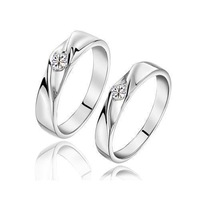 C021 925 pure silver platinum lovers ring lovers ring finger ring a pair of