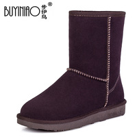 female 2013 new arrival real genuine leather cowhide thermal snow boots cotton-padded shoes knee-high flat heel boots women