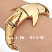 Free Shipping Heavy Casting Strong dold  Stainless Steel Cool Shark Heavy Bangle Biker Fashion Men Bracelet