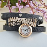 New Listing Supply Fashion Korean Casual Long Leather Tassel Rhinestones Inlaid Quartz Watches Women