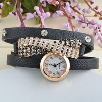 New Listing Supply Fashion Korean Casual Long Leather Tassel Rhinestones Inlaid Quartz Watches Women
