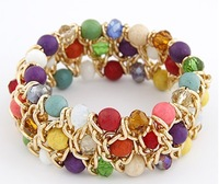 ( Min order $10 ) Free shipping Summer all-match magnificent TURQUOISE CRYSTAL mix temperament Stretch Bracelet 8135
