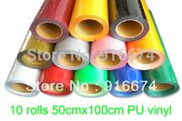 "Fast Free shipping DISCOUNT 10 pieces 20""x3' (50x100cm) heat transfer PU vinyl  heat press cutting plotter"