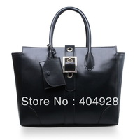 323652  BLACK beige smooth Leopard 2013  new  fashion women design original cow leather  handbag top quality wholesale