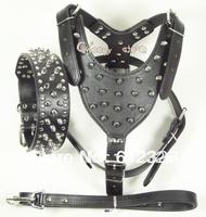 Black Leather Spikes Studs Dog HARNESS COLLAR LEASH SET PitBull Mastiff Terrier Husky Boxer Size S M L XL Free Shipping