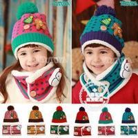 Cute Christmas Snowman Children Hat Scarf Set Winter Velvet Hats+Warm Scarf 2 piece set for 1--8 years
