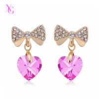 Luxury CZ heart gold gorgeous ultra long earrings