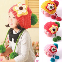New arrival children cute princess large flowers hanging double ball double ball winter hats wool cap