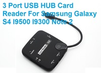 Faster Freeshipping Micro USB Host OTG 3 Port USB HUB Card Reader For Samsung Galaxy S4 I9500 I9300 Note 2