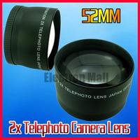 NEW 52MM 2X Tele Telephoto Lens for Nikon D3100 D3200 D80 D90 D7000 D40 D60 D5000 D5100 DSLR Camera, Free Shipping!!