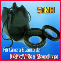 58MM 0.45x Wide Angle +Macro Lens for Nikon D5100 D3100 D3200 D80 D90 D7000 Canon Rebel T1i T2 T2i T3 T3i D40 DSRL Camera
