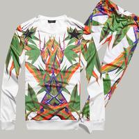 New 2013 brand fashion  fashion autumn new arrival fashion male fashion bird of paradise turbolinux print casual sports set  man