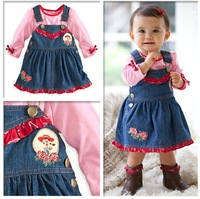 children clothing sets girls' set hight-quality long sleeve t-shirt+ overalls dress,baby girl suit,kids wear 5set/1lot