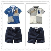 free shipping NEW children clothing 100% cotton baby boys 2 pcs set T-shirt + shorts fashion summer boy sport suits